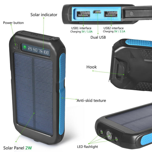 50000mAh Sport Solar Battery Power-Bank Charger for Camping,Hiking,Travel