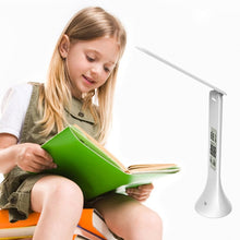 Load image into Gallery viewer, Fold-able Touch LED Reading Light Table Lamp with Digital Calendar