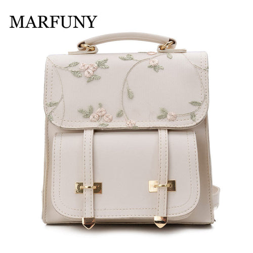 Floral Embroidery Design of High Quality Leather that's a Shoulder Bag Backpack
