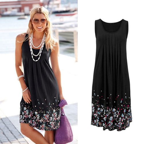 Sleeveless Floral Print Loose Summer Dress, Six Colors, Sizes S-5XL