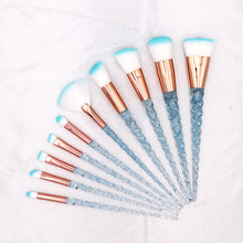 Load image into Gallery viewer, 10pcs Blue Unicorn Makeup Brushes Set