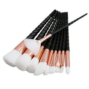 Professional 10 PCS Spiral White Handle Makeup Brushes