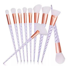 Load image into Gallery viewer, Professional 10 PCS Spiral White Handle Makeup Brushes