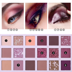 Aromas Nude Eye Shadow Palette in 18 Colors. Eye Shadow Shimmer Matte Glitter Powder That's Waterproof