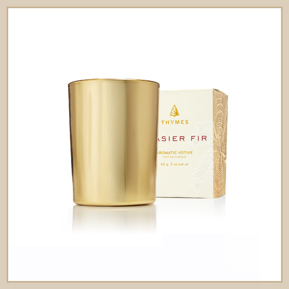 Thymes Frasier Fir Gold Votive Candle - Envy Paint and Design
