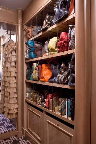 handbag storage with acrylic shelf dividers