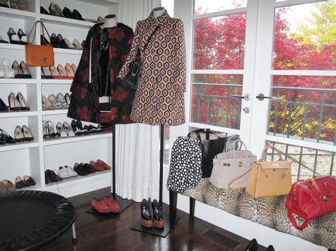 shoe racks and hermes bags in Kim's dream closet