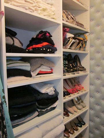 sweater storage and shoe shelves