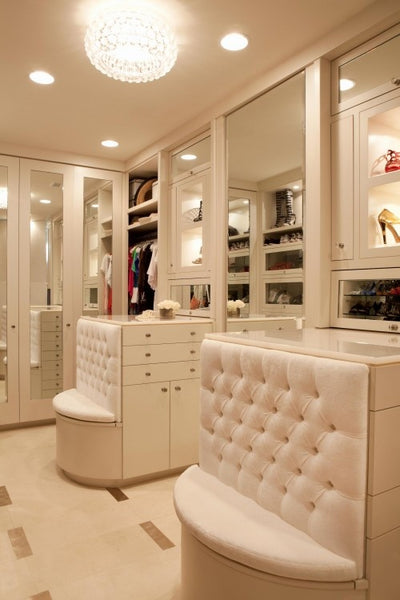 built-in tufted closet seating