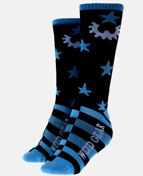 SOCK WOD GEAR STARS & GEARS BLACK/BLUE
