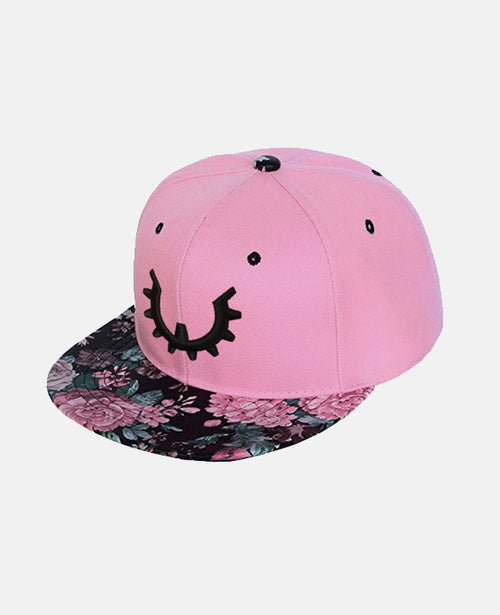Floral Printed Snapback W/ Leather Visor PINK