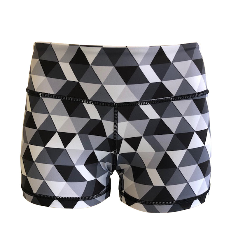 Booty Short - KUMI Black/Grey Triangles