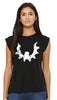 Women's Flowy Muscle Tee Black White Logo