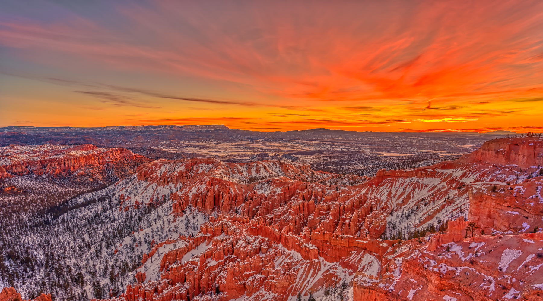 Bryce Canyon Sunset Winter Landscape