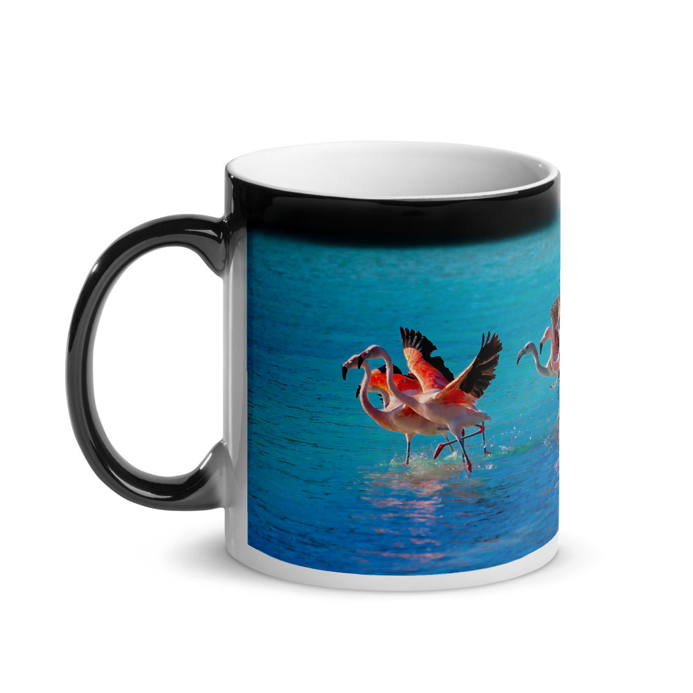 Surprise Black Mug - The Wildlife Collection - The Two Flamingos