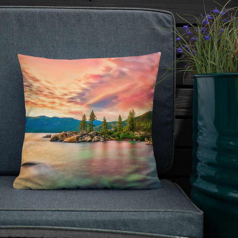 Decorative Throw Pillows - Summer Collection - The Pink Sunset at Lake Tahoe Pillow