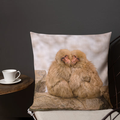 Cute Decorative Pillow - Snow Monkeys Cuddling by the Spa (Limited Edition)