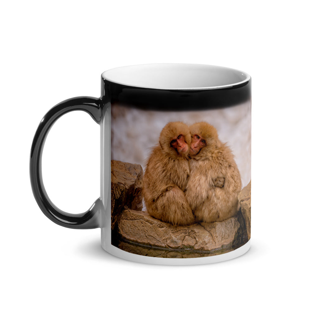 Surprise Black Mug - The Wildlife Collection - Two Monkeys Cuddling