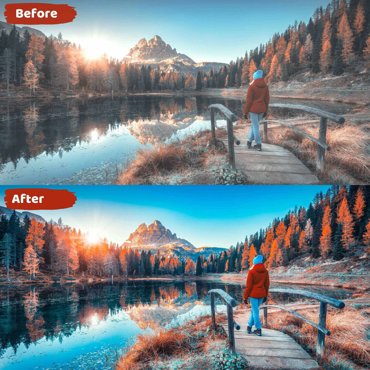 Fall Video Presets Before and After Comparison