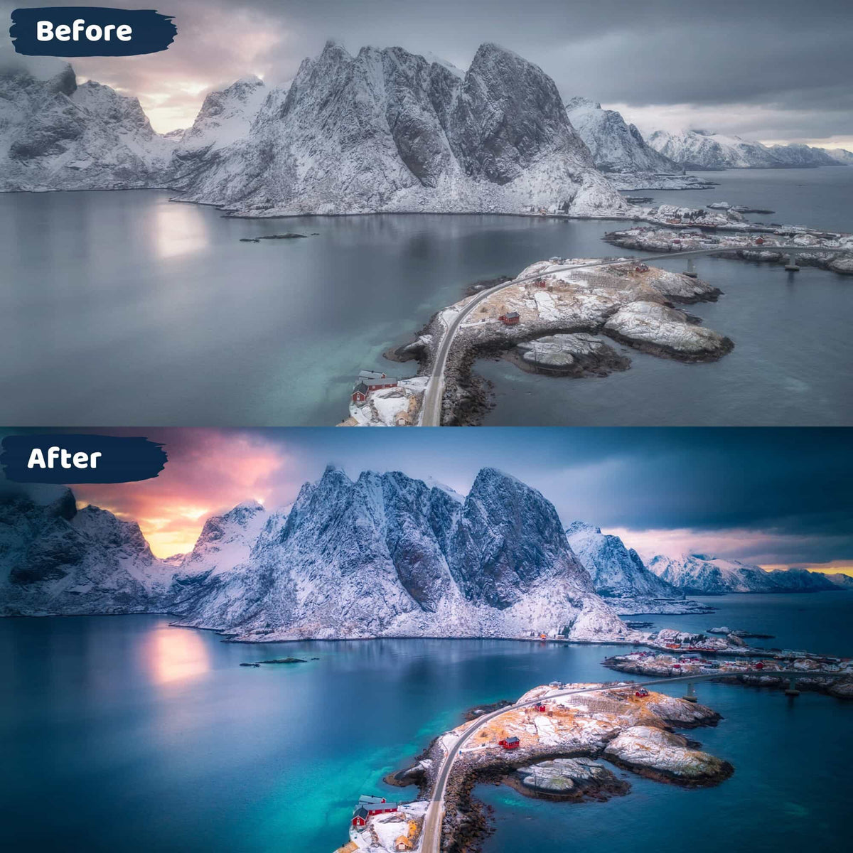 Moody Lightroom Presets Before and After