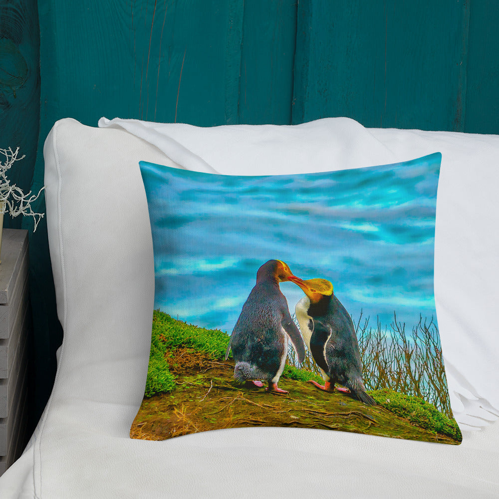 Cute Decorative Pillow Design - The Two Penguins in Love (Limited Edition)