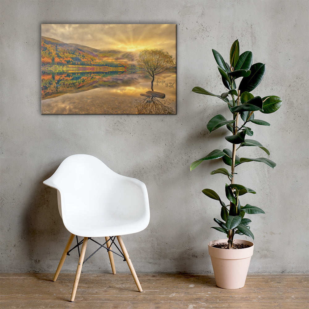 Autumn Reflection & Golden Spark - Premium Wall Art Canvas Print