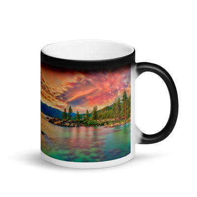 Surprise Black Mug - The Nature Collection - The Pink Sunset at Lake Tahoe