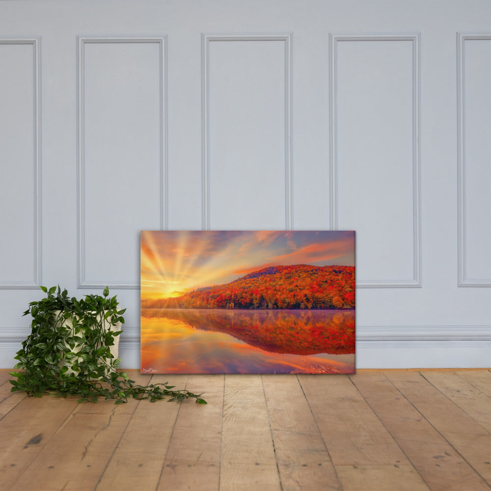 Premium Wall Art Canvas - Glorious Autumn Color by the Lake