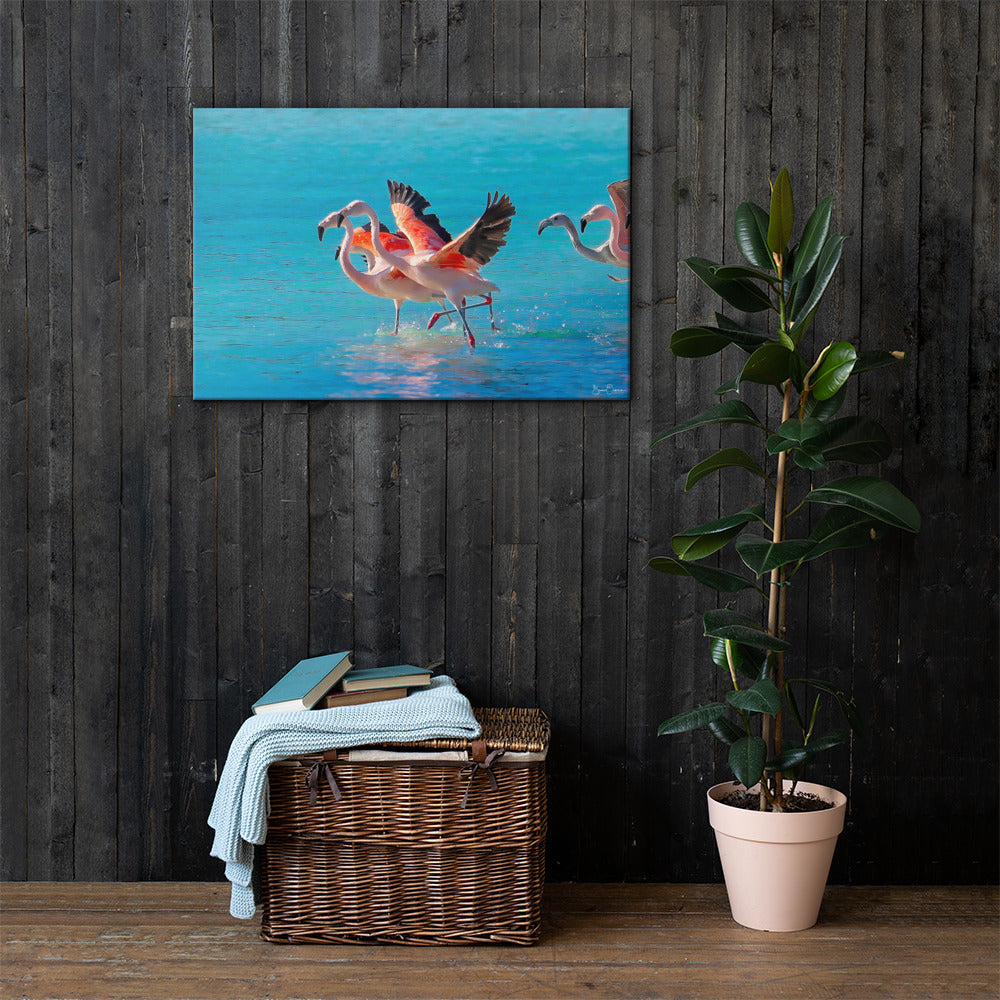 Flamingos Flying to Paradise  - Premium Wall Art Canvas Print