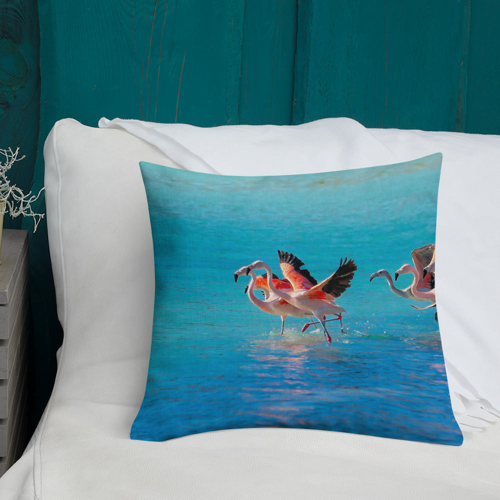 Decorative Throw Pillows - Wildlife Collection - The Two Flamingos