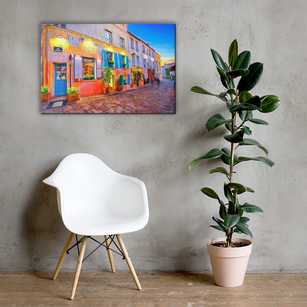 Art Painting Paris Street Montmartre  - Premium Wall Art Canvas Print