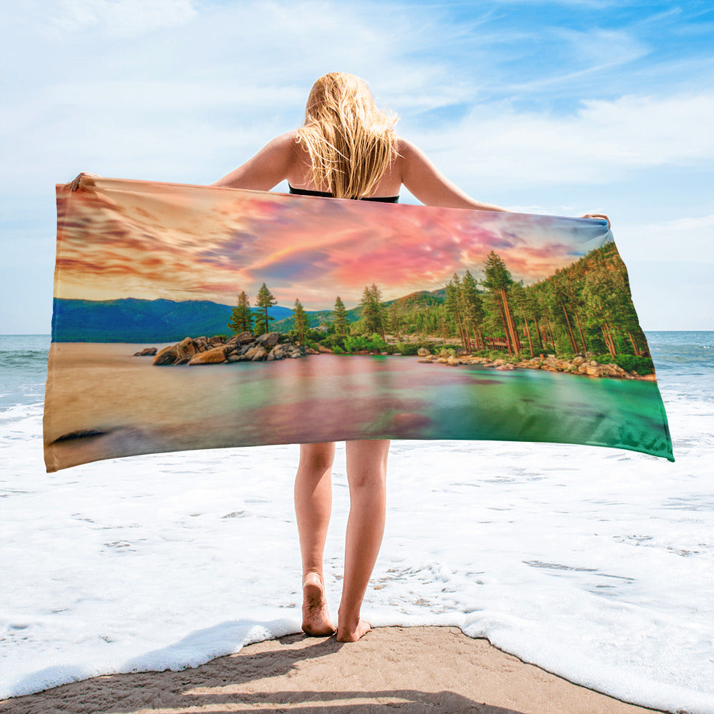 Beach/Gym Towel - Summer Collection - The Pink Sunset at Lake Tahoe