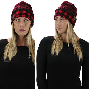 Buffalo Plaid Beanie Hat