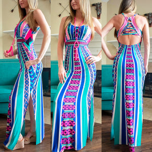Blue And Pink Tropic Paradise Maxi Dress