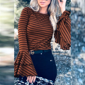Mocha Bell Sleeve Stripe Blouse