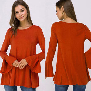 Copper  Bell Sleeve (Plus Size) Top