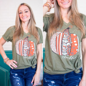 Fall Olive Thankful Pumpkin Graphic Tee