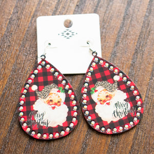Plaid Santa Earrings