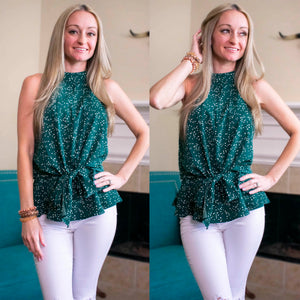 The Dark Green Front Tie Halter