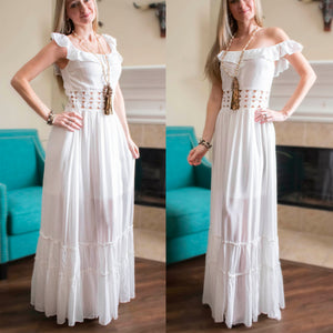 White Off The Shoulder Crochet Maxi Dress