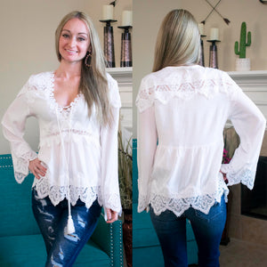 White Lace Detailed Long Sleeve Blouse
