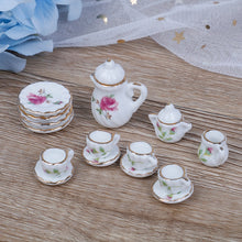 Load image into Gallery viewer, 15PCS  1/12 Miniature doll house pink Flower Patten Porcelain Coffee Tea Cups Ceramic Tableware Dollhouse Kitchen Accessories