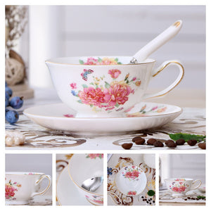 Europe Noble Bone China Coffee Cup Saucer Spoon Set 200ml Luxury Ceramic Mug Top-grade Porcelain Tea Cup Cafe Party Drinkware