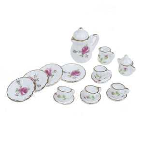15PCS  1/12 Miniature doll house pink Flower Patten Porcelain Coffee Tea Cups Ceramic Tableware Dollhouse Kitchen Accessories