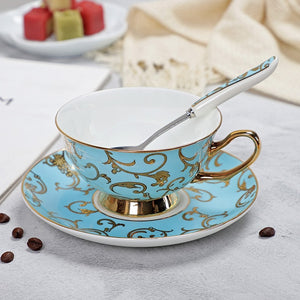 YeFine High Quality Bone Porcelain Coffee Cups Vintage Ceramic Cups On-glazed Advanced Tea Cups And Saucers Sets Luxury Gifts