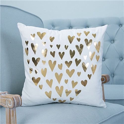 Gold & White Cushion Cover