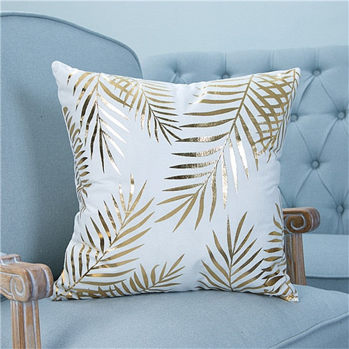 White & Gold Palm Cushion Cover