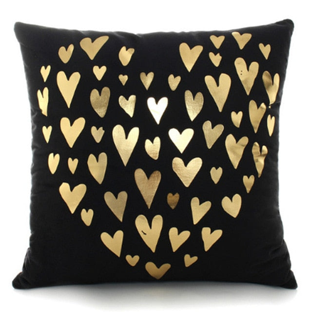 Black & Gold Hearts Cushion Cover