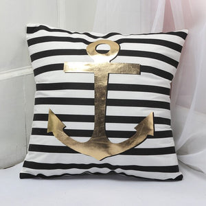 Black & White Anchor Cushion Cover