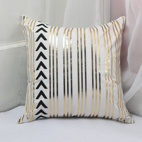 Golden Stripes Cushion Cover
